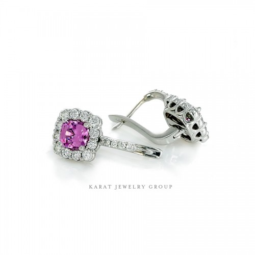 Diamond Drop Halo Earrings with Spinel Center