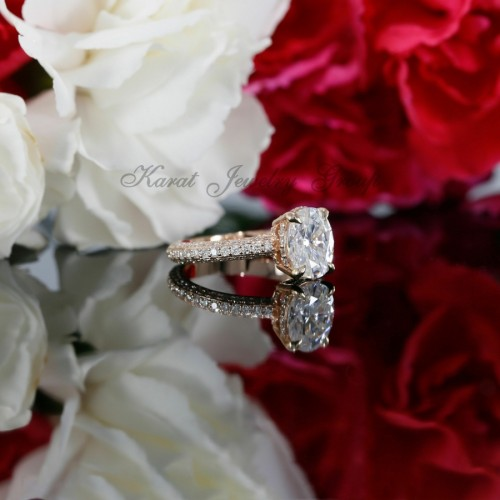 Oval Shape Diamond Halo Engagement Ring Mounting in 14K Rose Gold