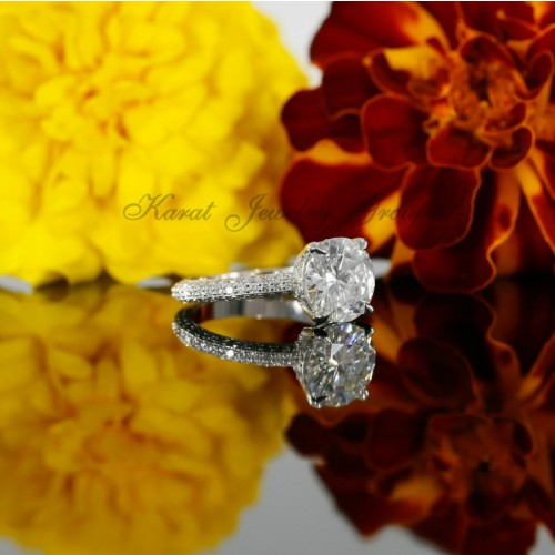 Solitaire Pave Engagement Ring Mounting with Diamonds in 14K White Gold