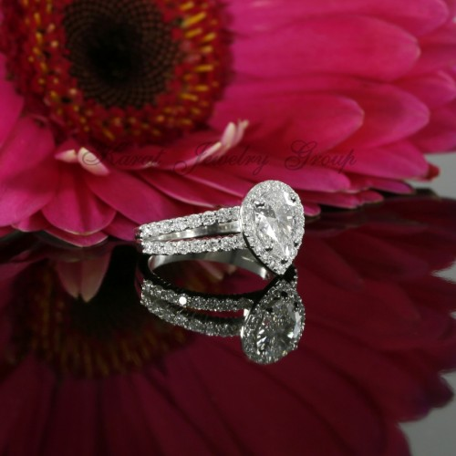 Pear Shape Diamond Halo Engagement Ring Mounting in 14K White Gold