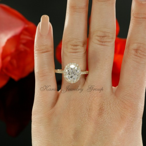 Oval Shape Diamond Halo Engagement Ring Mounting in 14K Yellow Gold