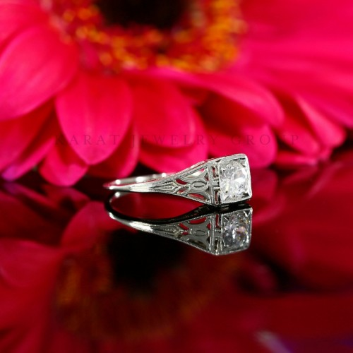 Antique 0.37ct Old European Cut Diamond Engagement Ring in 18k White Gold