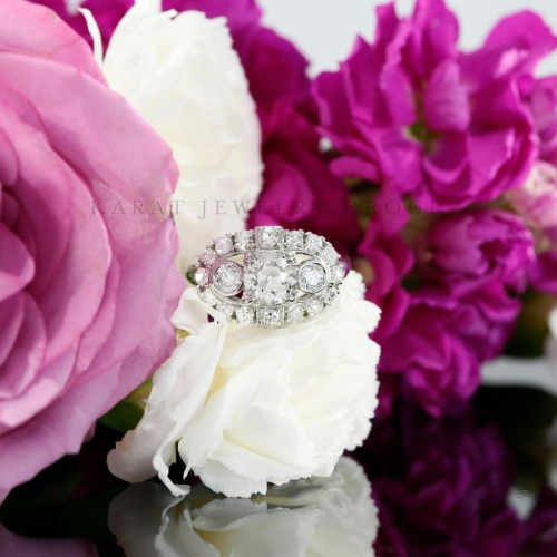 Antique Style Diamond Engagement Ring Mounting