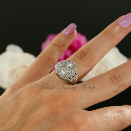 Antique Style Two Stone  Diamond Engagement Ring Mounting