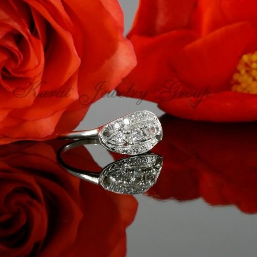 Antique Old European Cut Diamond Engagement Ring in 14k White