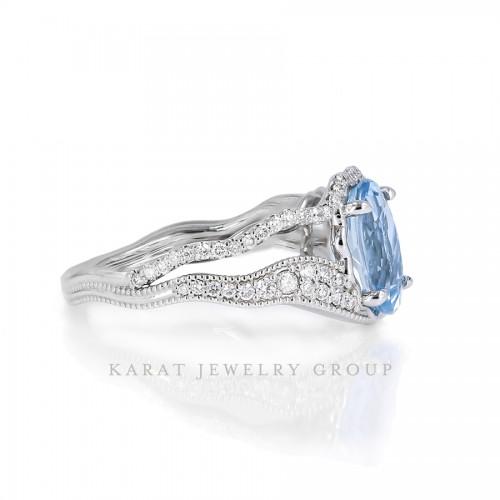 Aquamarine Ring with Diamonds, Oval Aquamarine Cocktail Ring in 14k White Gold, Unique Ring