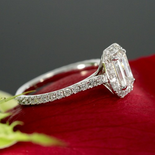 14K White Gold Emerald Cut Diamond Halo Engagement Ring Mounting