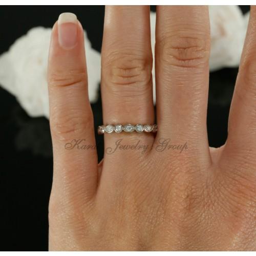 Three Quarter way Diamond Wedding Band in 14K White Gold