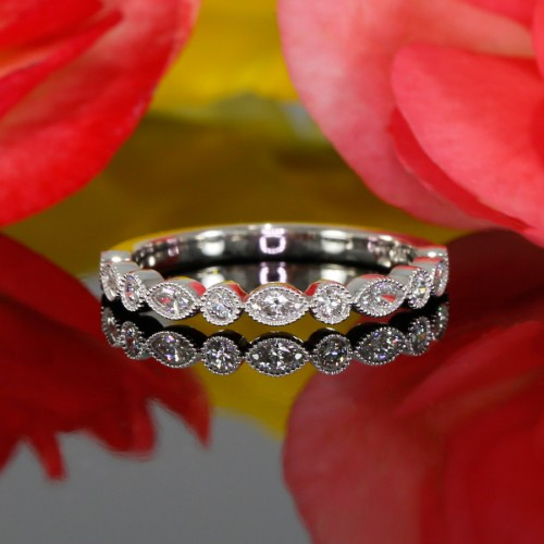 Bezel Set  Diamond Halfway Wedding Band in 14K White Gold