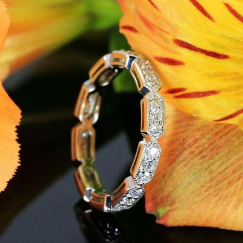 14K White Gold Diamond Eternity Wedding Band with Milgrain, Antique Style