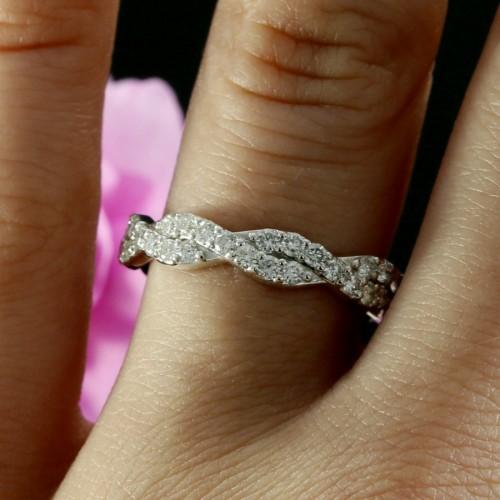 14k White Gold Infinity Diamond Wedding Band Infinity Wedding Ring
