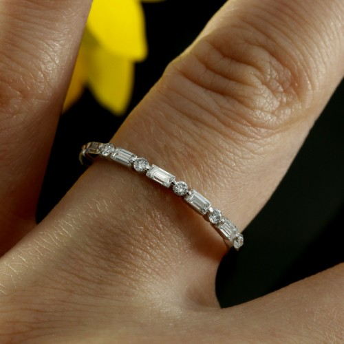 Halfway Diamond Wedding Band Baguette Ring In 14k White Gold