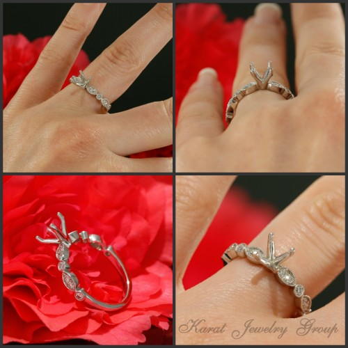 Solitaire Engagement Ring Mounting in 14K White Gold