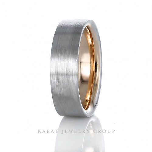 6.5mm Comfort Fit Two Tone Mens Wedding Band in 14k White and Rose Gold