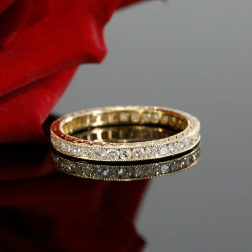 Antique Style 14k Yellow Gold Single Cut Diamond Eternity Wedding Band with Engraving