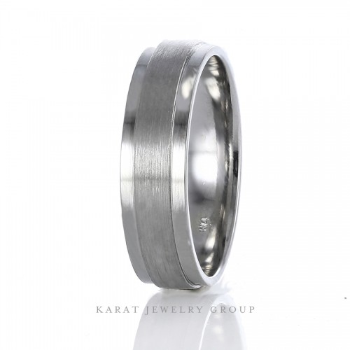 6.5mm Comfort Fit Mens Wedding Band with Satin and High Polish Finishes in 14k White Gold