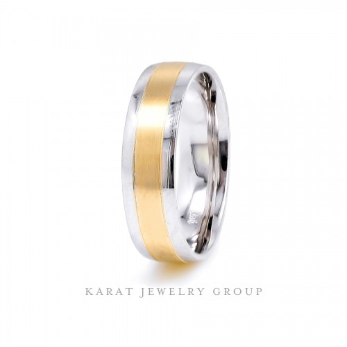 6.0mm Comfort Fit Two-tone Gold Men's Wedding Band