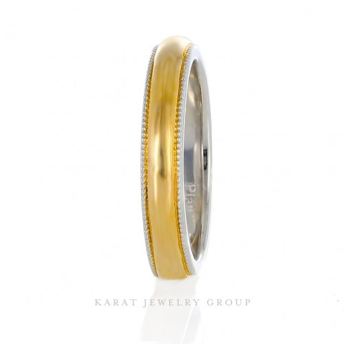 3mm. Comfort Fit Mens Wedding Band in 24k Gold and Platinum