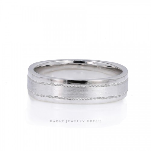 6mm Comfort Fit Men's Wedding Band in Satin and High Polish Finishes