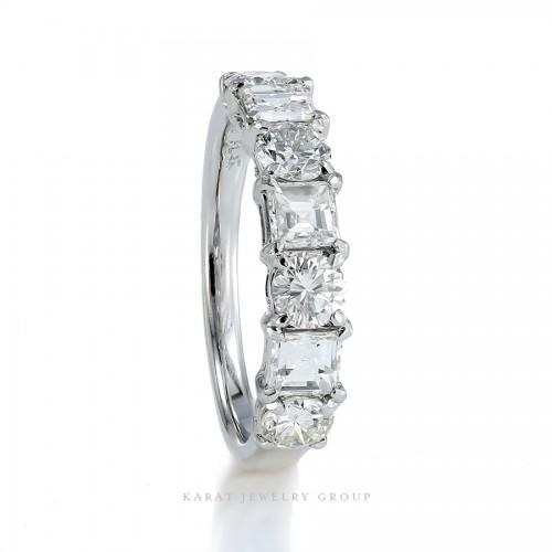 Platinum Asscher & Round Diamond Band