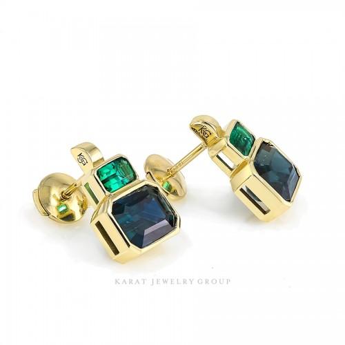 Blue Sapphire & Emerald Cocktail Earrings