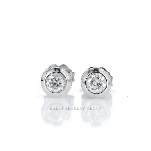 Natural Diamonds (0.48cttw) Bezel Stud Earrings