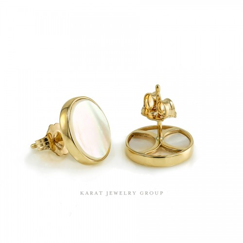 11mm. Mother Of Pearl Stud Earrings