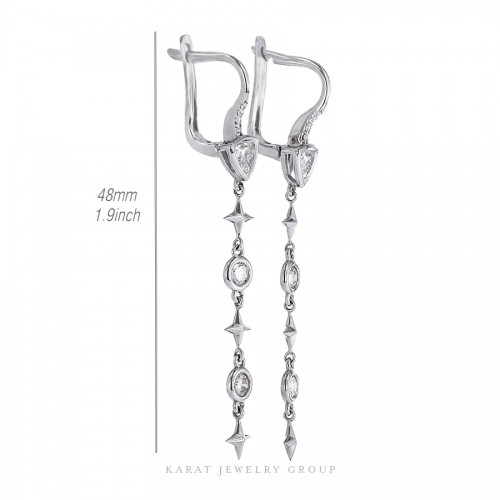 Long Drop Diamond Earrings