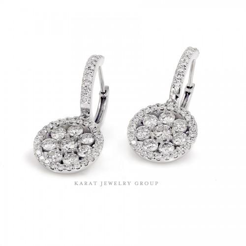 Diamond Dangle Halo Earrings