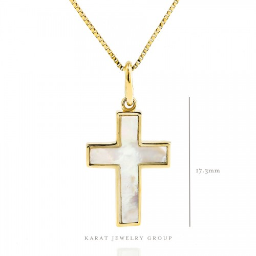 Mother Of Pearl Cross In Yellow Gold