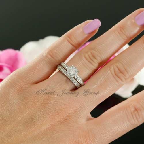 Diamond Solitaire Engagement Ring Mounting And Matching Wedding Band In 14k White Gold