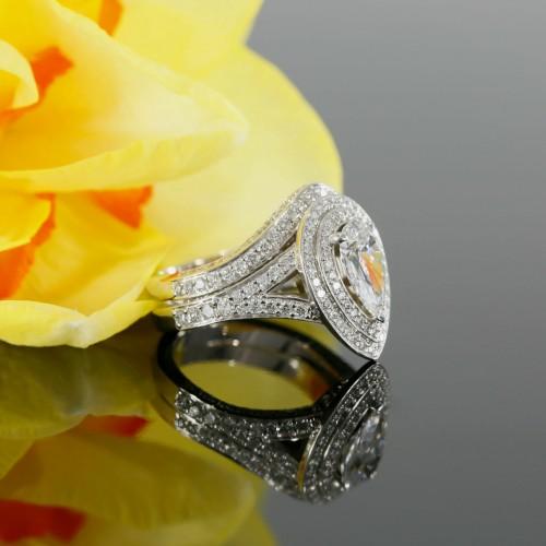 Pear Shape Diamond Double Halo Engagement Set in 14K White Gold