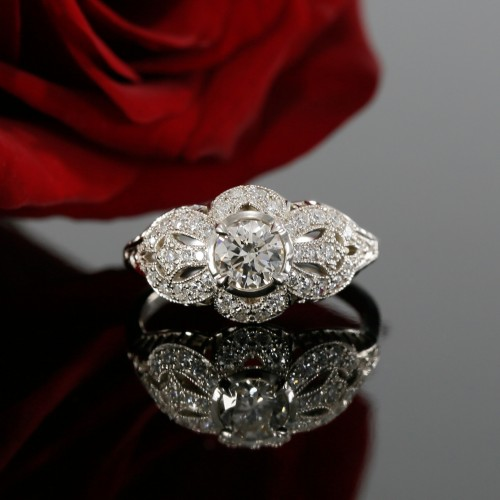 Antique Style Diamond Engagement Ring Mounting and Wedding Band with Milgrain