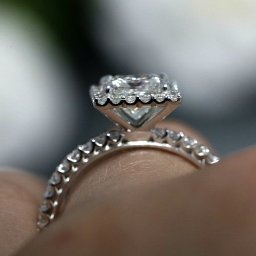 KR-4655-C, Princess Cut Diamond Halo Engagement Ring