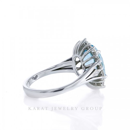 Aquamarine Halo Engagement Ring with Diamonds, Oval Aquamarine Cluster Cocktail Ring in 14k White Gold, PGS Certified 3.47ct Aquamarine