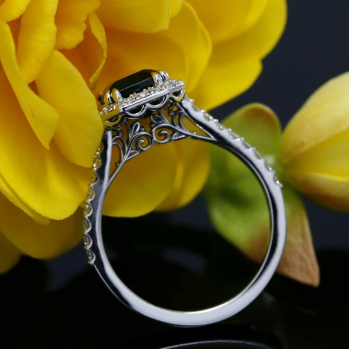 Emerald and Diamond Halo Engagement Ring In 14k White gold, Emerald cut Emerald Halo Ring