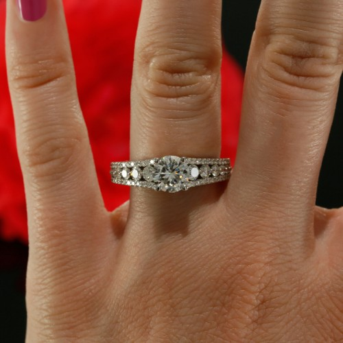 Diamond Solitaire Split Shank Engagement Ring Mounting in 14K White Gold