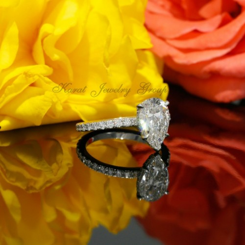 Pear Shape Diamond Solitaire Engagement Ring Mounting in 14K White Gold