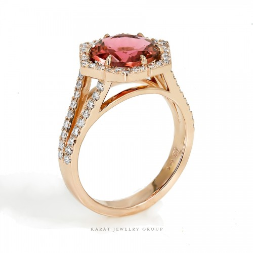 Pink Tourmaline Ring with Hexagon Halo