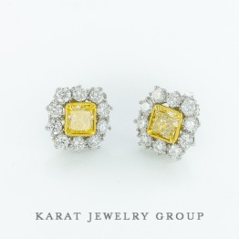 GIA Certified Fancy Light Yellow Diamond Earrings