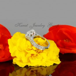 Marquise Shape  Halo Engagement Ring Mounting in 14K White Gold