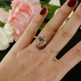 Oval Shape Morganite and Diamond Halo Engagement Ring in 14K Rose Gold