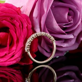 3mm Diamond Halfway Wedding Band in 14k Rose Gold
