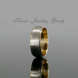 7mm Two Tone Gold Mens Wedding Band