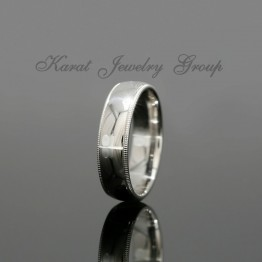 6mm Comfort Fit Mens Wedding Band with Milgrain in 14k White Gold