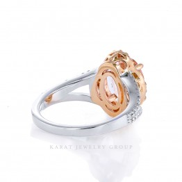 2.37ct Oval Peachy Morganite and Diamond Halo Engagement Ring