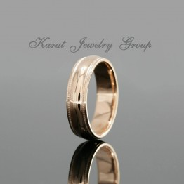 6.5mm Comfort Fit Mens Wedding Band with Milgrain in 14k Rose Gold