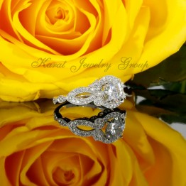 Halo Engagement Ring Mounting with Diamonds and Milgrain design in 14K White Gold