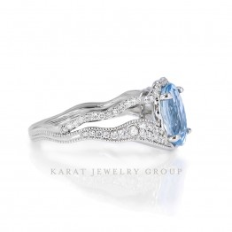 Aquamarine Ring with Diamonds, Oval Aquamarine Cocktail Ring in 14k White Gold, Unique Ring