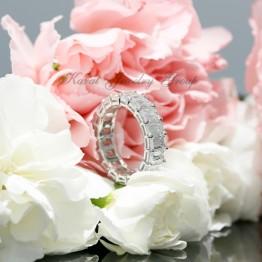 Ladies Emerald Cut Diamond Wedding Band, Eternity Style in 14k White Gold